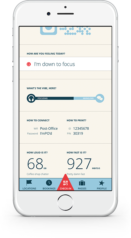 The vibe meter—shown here as a newly checked-in user would interact with it—elicited a lot of excitement from usability testers.