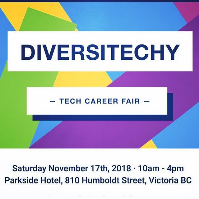 On Saturday November 17th from 10am - 4pm at the Parkside Hotel, join local employers and members of the tech community for the Diversitechy Career Fair, a diversity-focused hiring event featuring speakers and discussion panels. RSVP or learn more at diversitechy.com/career-fair-2018  #diversitechy #diversity #hiring #careers #careerfair #tech #yyjtech #hiringfair #yyjevents #yyjtechladies