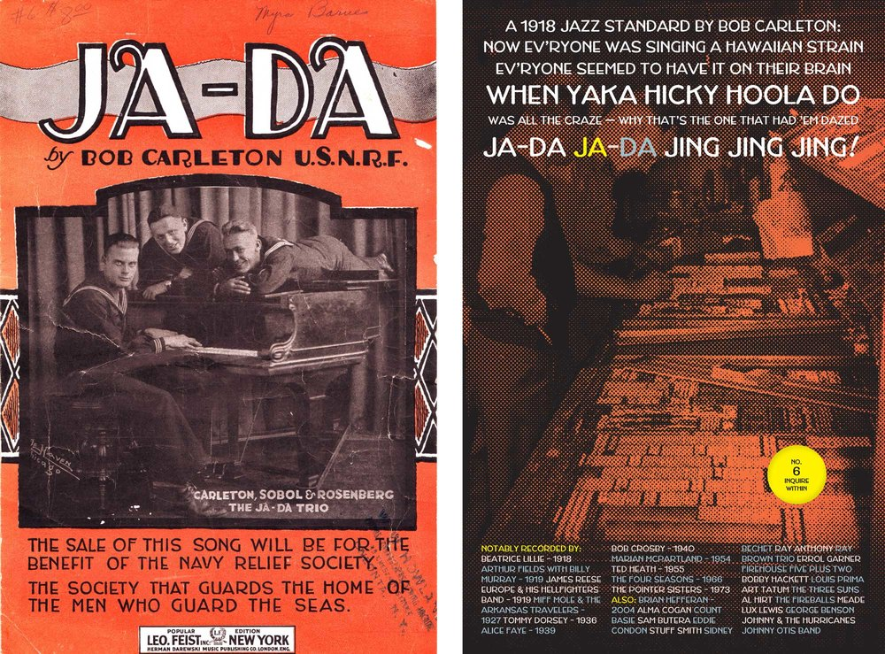 Left: original source, found in an antiques shop in Cold Spring, NY. Right: the fold-out poster for Jada, the typeface.