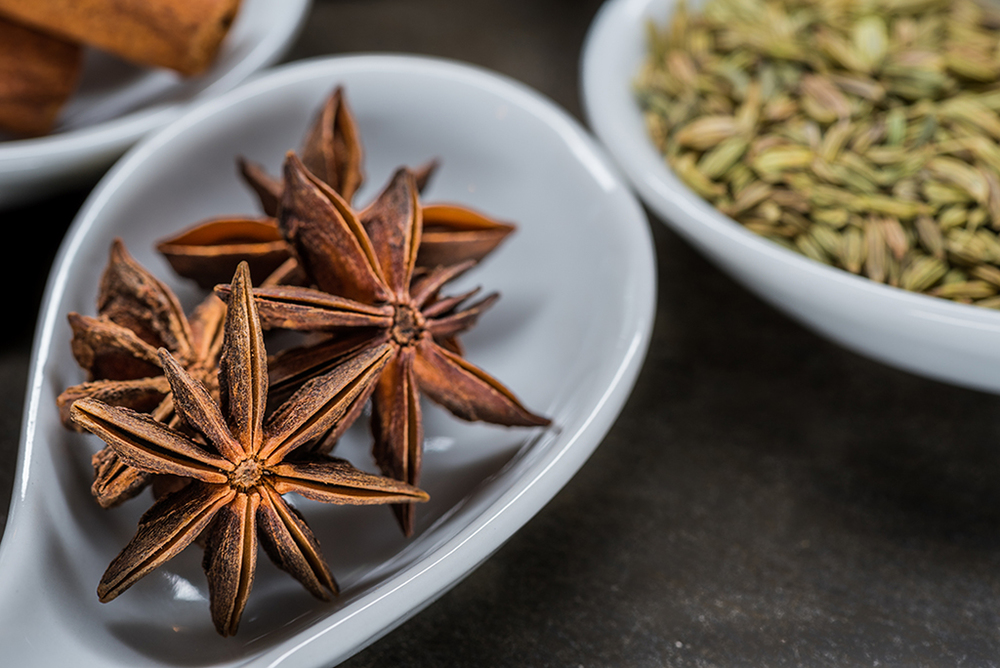 Star Anise in White Spoon