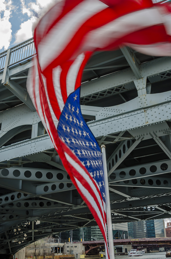 American Flag Under Bridge, Chicago, Illinois