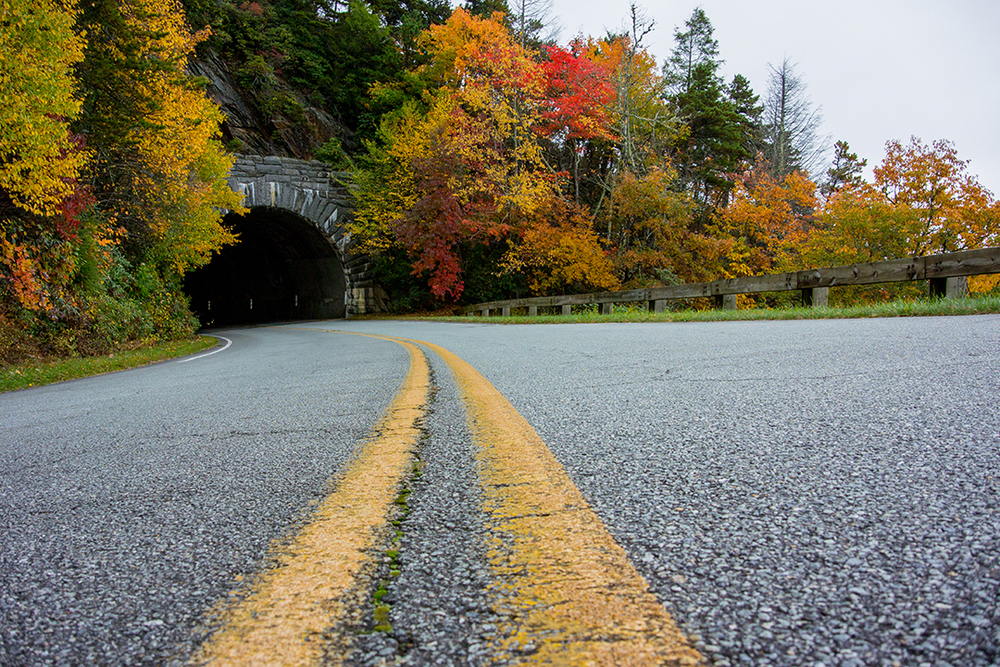 Paint Stripe Leading to Rough Ridge Tunnel, Blue Ridge Parkway