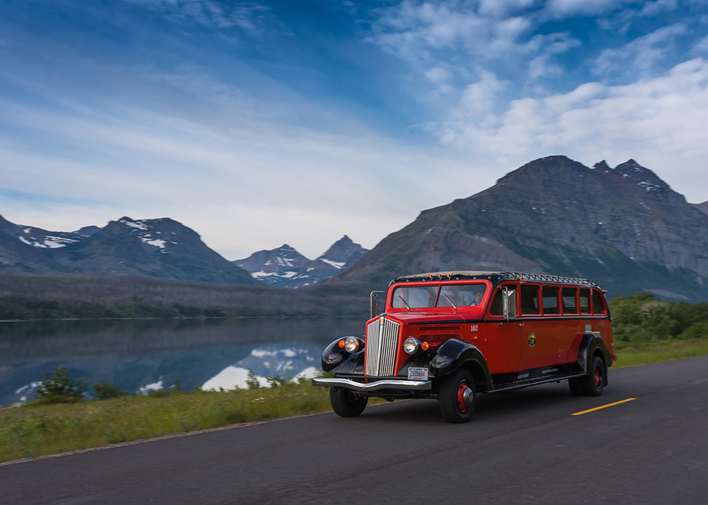 Red Bus Passes at St Mary Lake, Glacier National Park