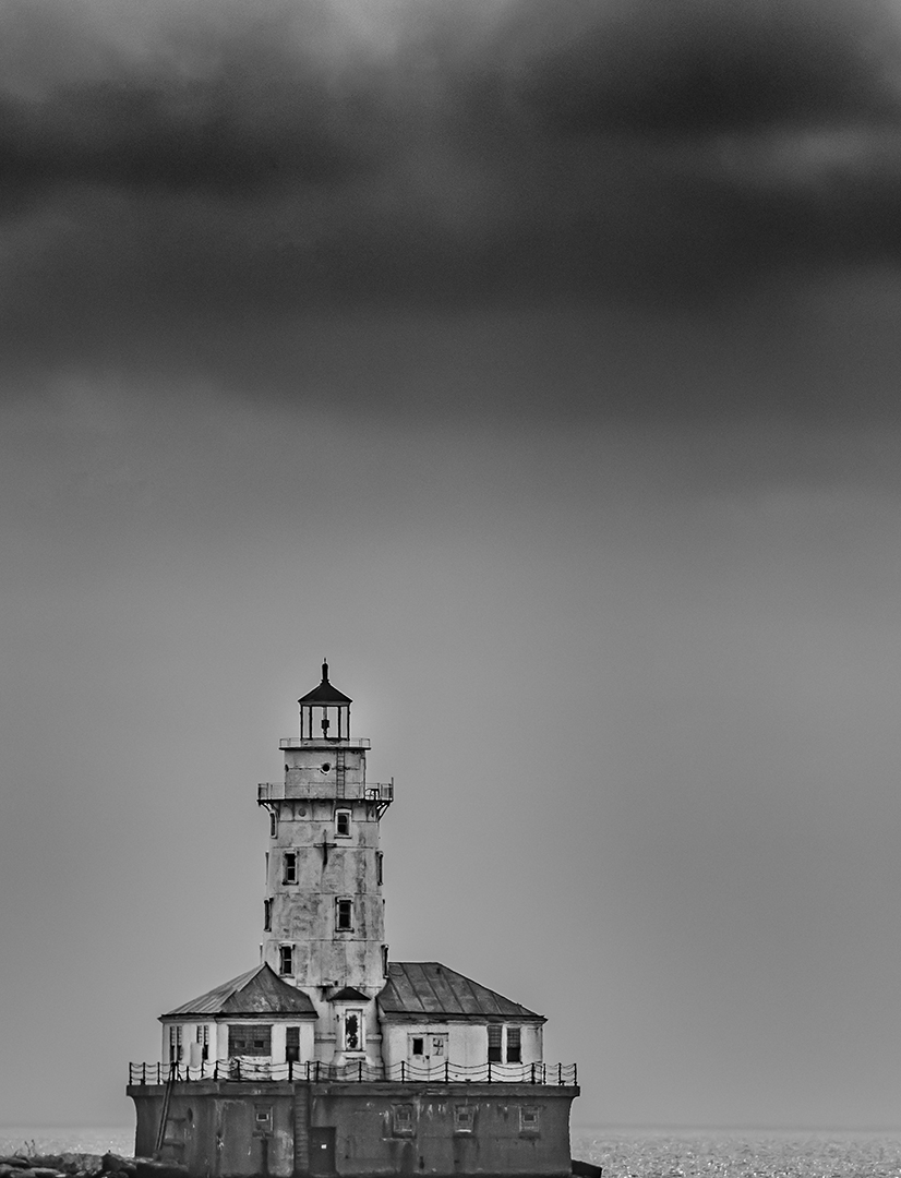 Storm Clouds Over Chicago Harbor Light, Chicago, Illinois