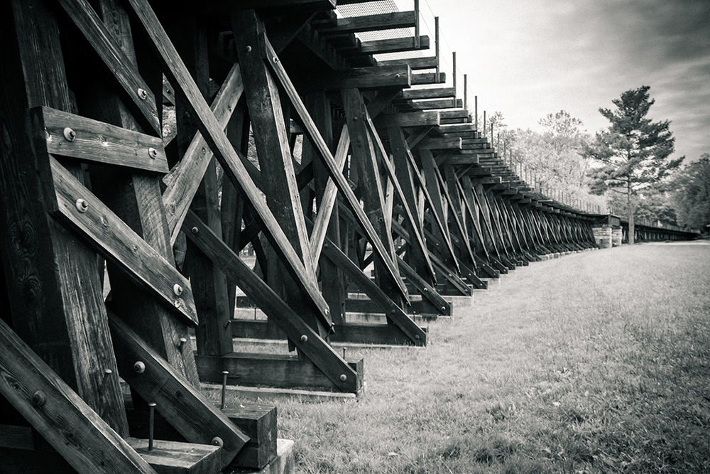 Trestle and Field Black and White, Harpers Ferry, West Virginia
