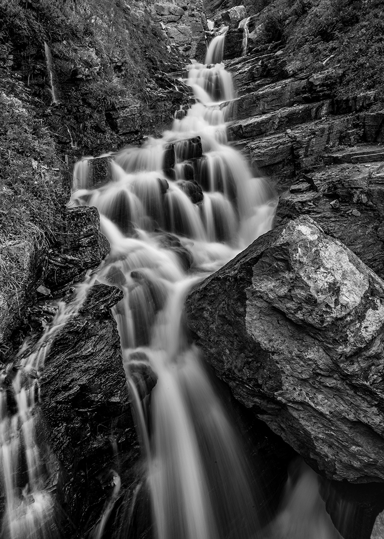 Alder Creek Falls Black and White, Glacier National Park