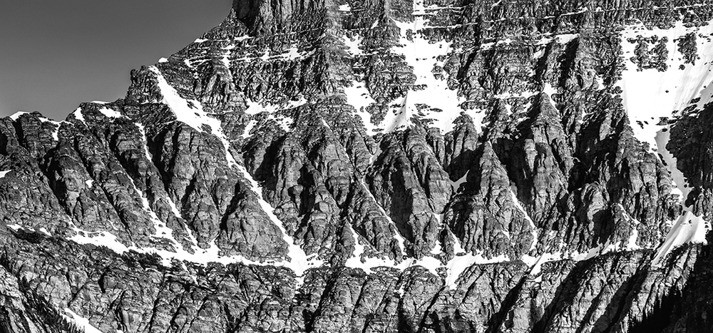 Detail on Mt Oberlin Black and White, Glacier National Park