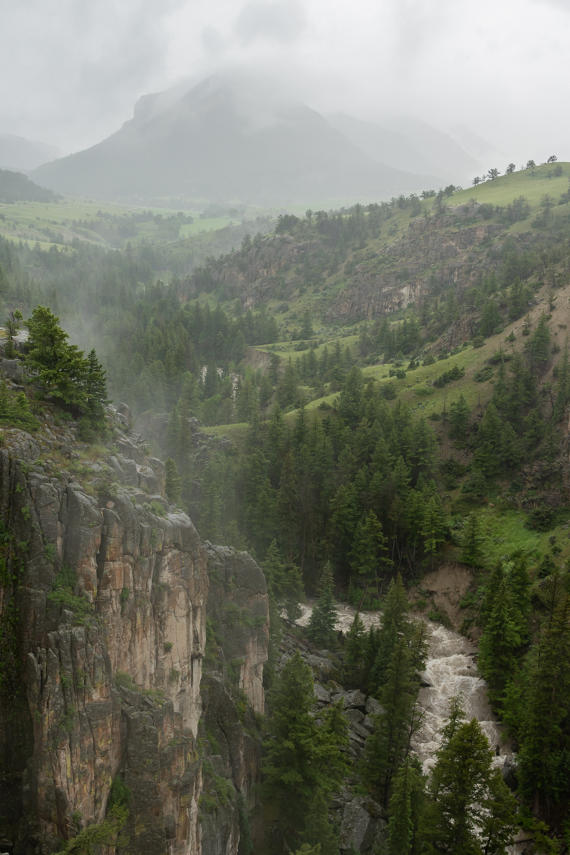 Fog Lingers Over River in Wyoming