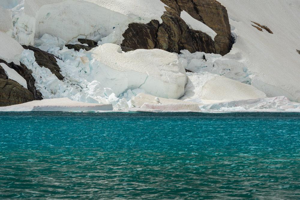 Ice Shelf and Blue Water of Iceburg Lake