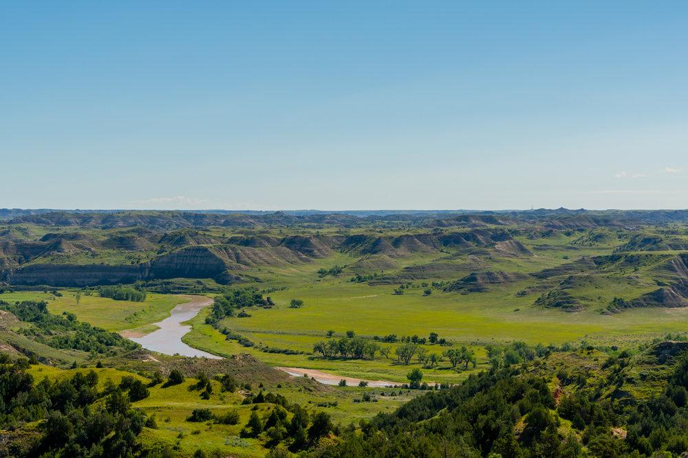 Little Missouri River Meanders Through Valley