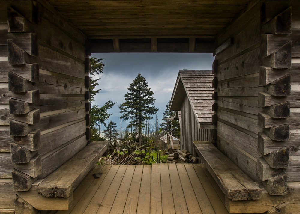 Looking through log cabin in LeConte Village