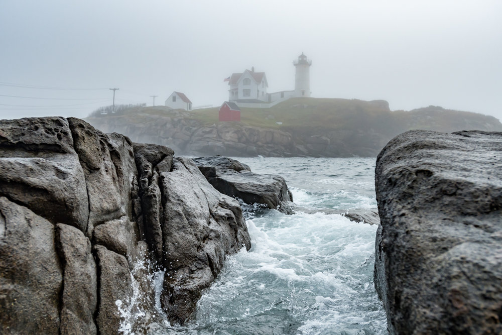 Water Rushes Through Rocks at Cape Neddick Lighthouse