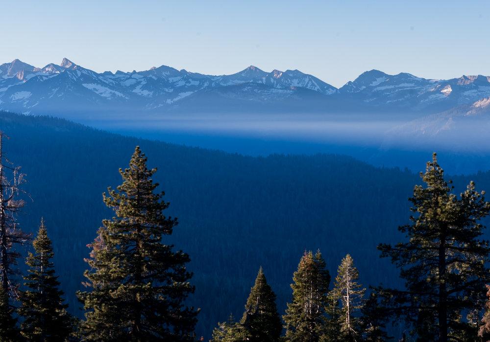 Wispy Fog in Front of High Sierras