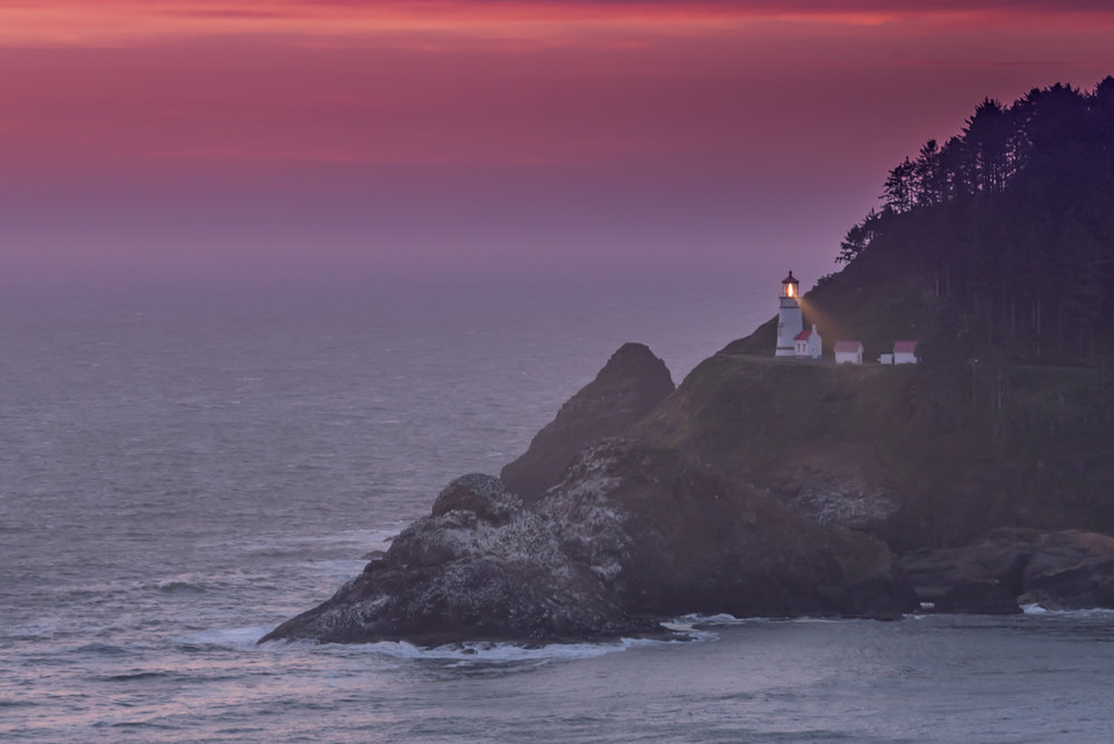 Sunset Over the Heceta Head Lighthouse and Tide Pools