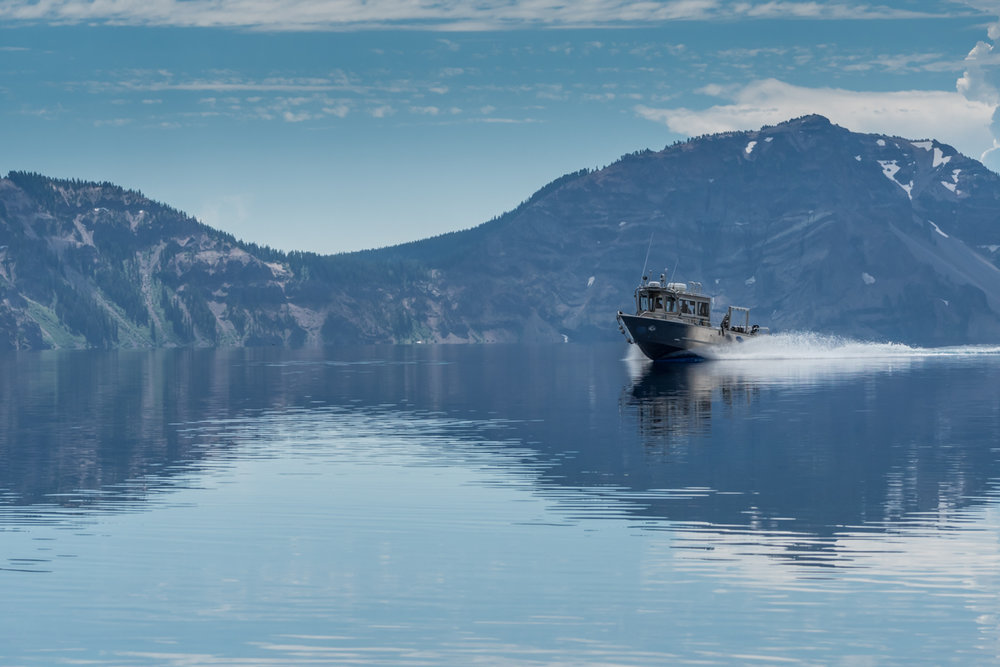 Research Boat Cruises Across Crater Lake