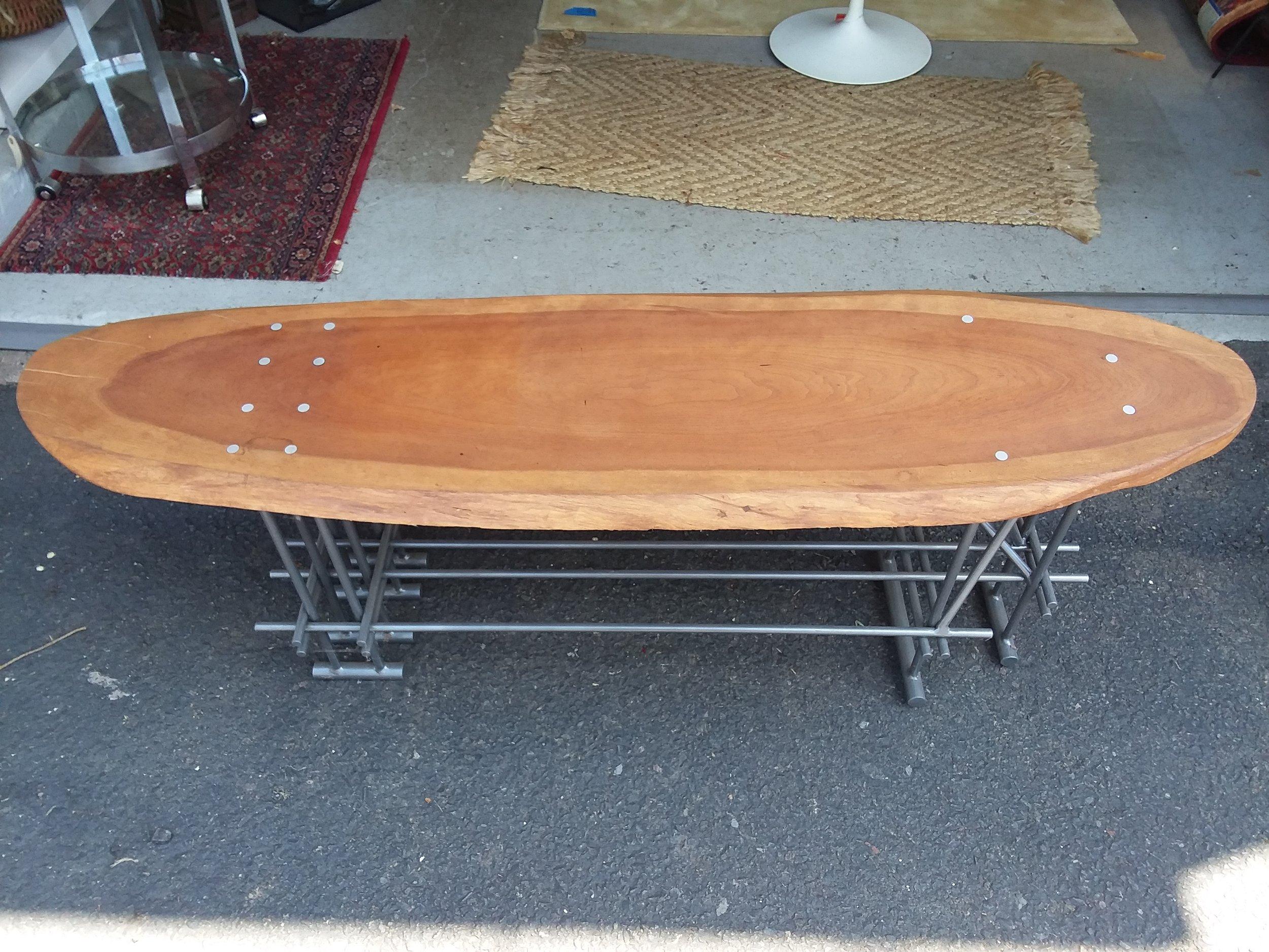 Handmade Live Edge Coffee Table With Steel Base Merge Gallery