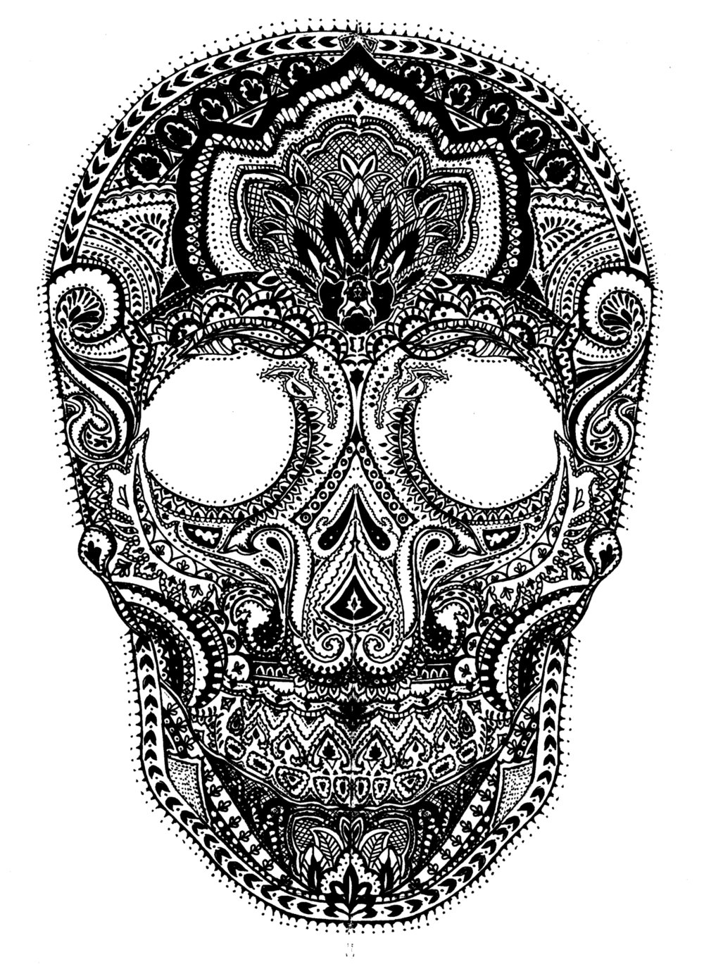 Paisley Skull Illustration: Ink on paper