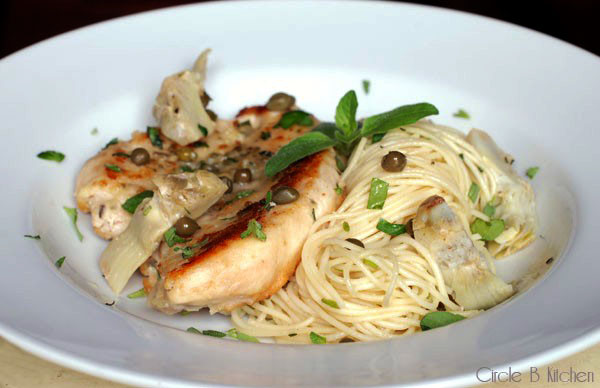 Chicken with Artichokes and Angel Hair Pasta — Circle B ...