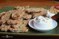 not-fried pickles with creamy ranch dip