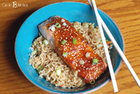 Miso-Glazed Salmon with ramen noodles