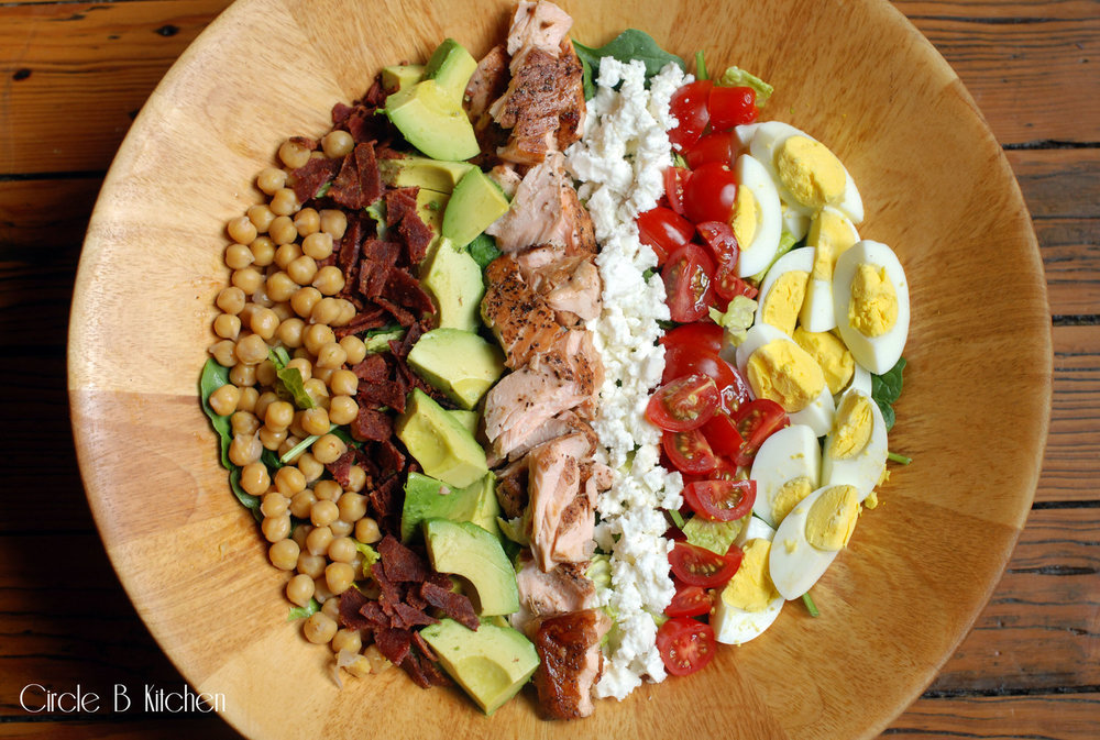 Greek-ish cobb salad with roasted                             salmon