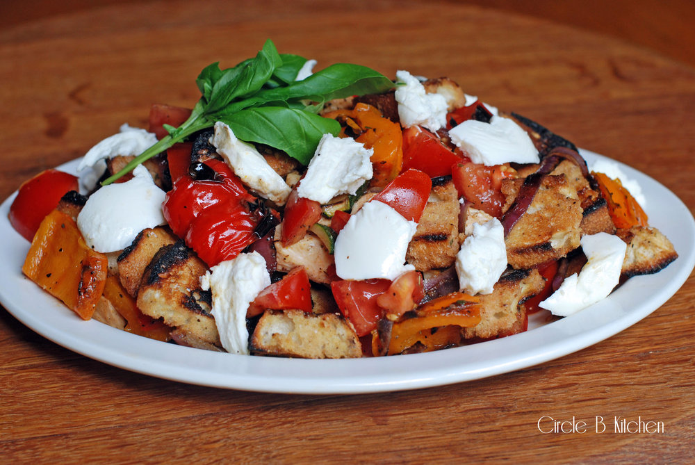 Grilled Panzanella Salad with Roasted peppers and torn mozzarella