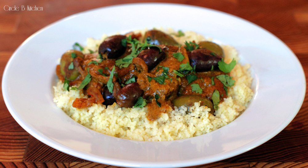 Moroccan fish smothered in                                olives