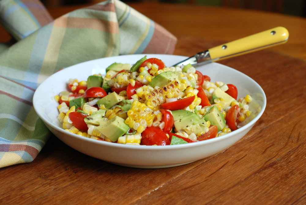 Grilled corn, tomato and avocado salad