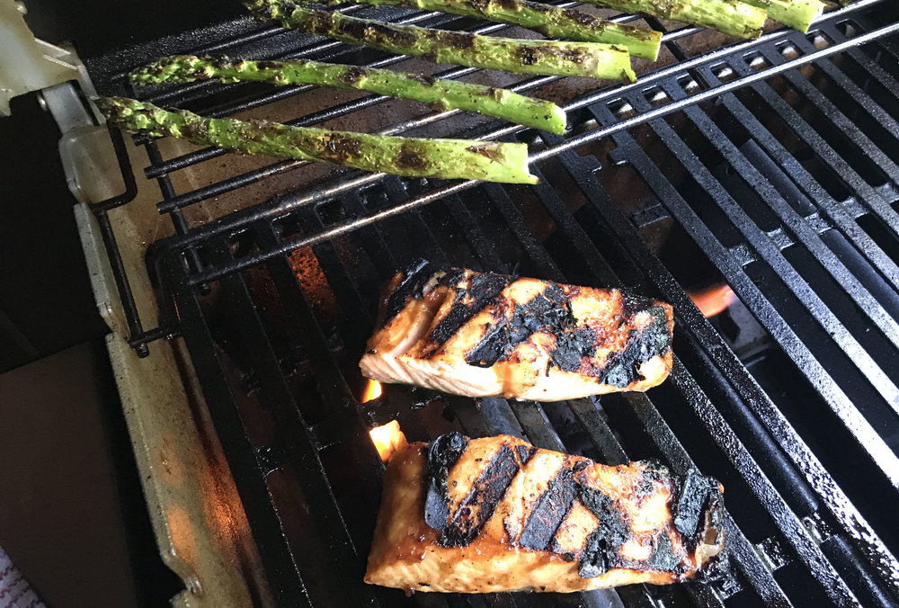 Tap to link to the mis0-glazed salmon recipe (minus the ramen noodles).  Grill 7-9 minutes over high heat
