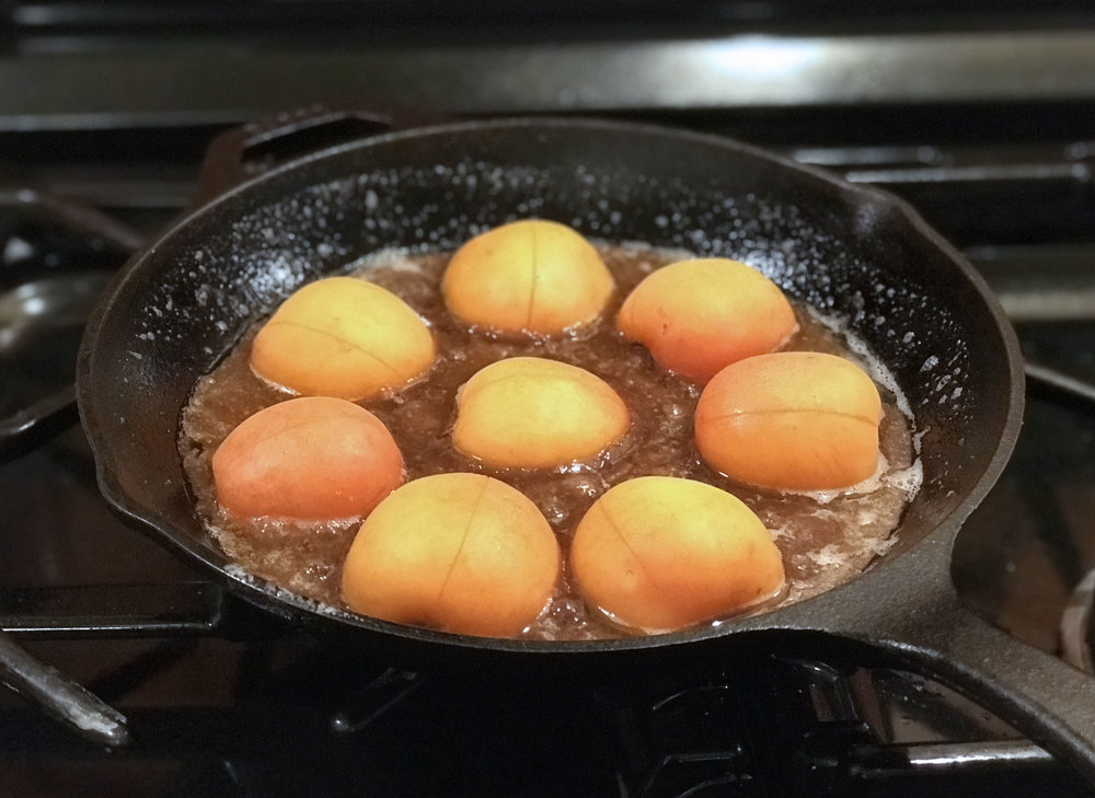 (the recipe asked that you give each apricot a couple of slashes with a sharp knife.  I complied but see no earthly reason to do so again.  We'll leave out that step).