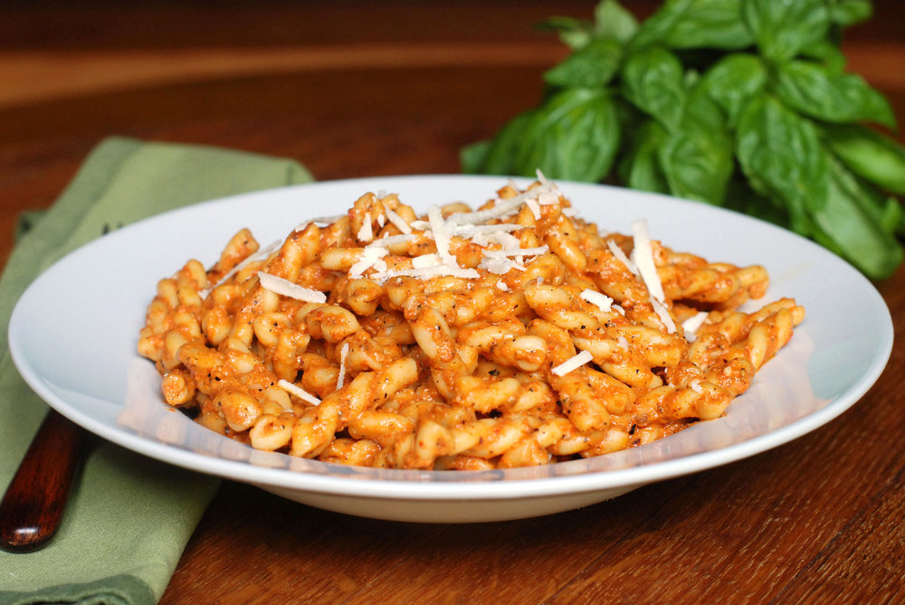 Pasta with pesto calabrese