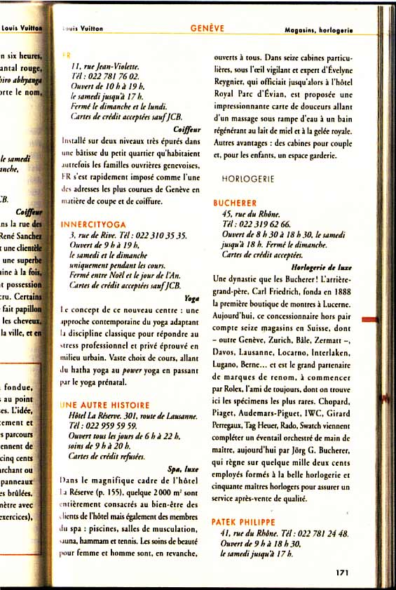 Louis Vuitton City Guide recommends INNERCITYOGA on the same page together with Bucherer and Patek Philippe, Edition 2004 + 2008