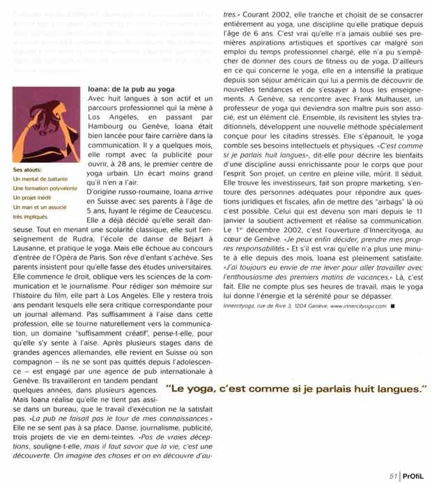Interview dans le magazine suisse Profil Femme avec les fondateurs d'INNERCITYOGA à propos le concept du Urban Yoga à  Genève