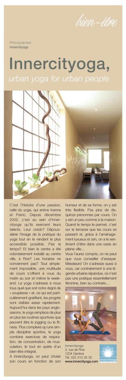 INNERCITYOGA présenté dans le magazine chic Genève sur la Terre.