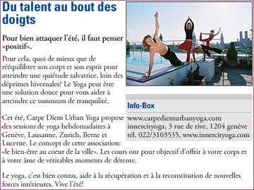 Les boissons Carpe Diem sponsorisent des cours de yoga gratuits à Genève au centre de yoga INNERCITYOGA.