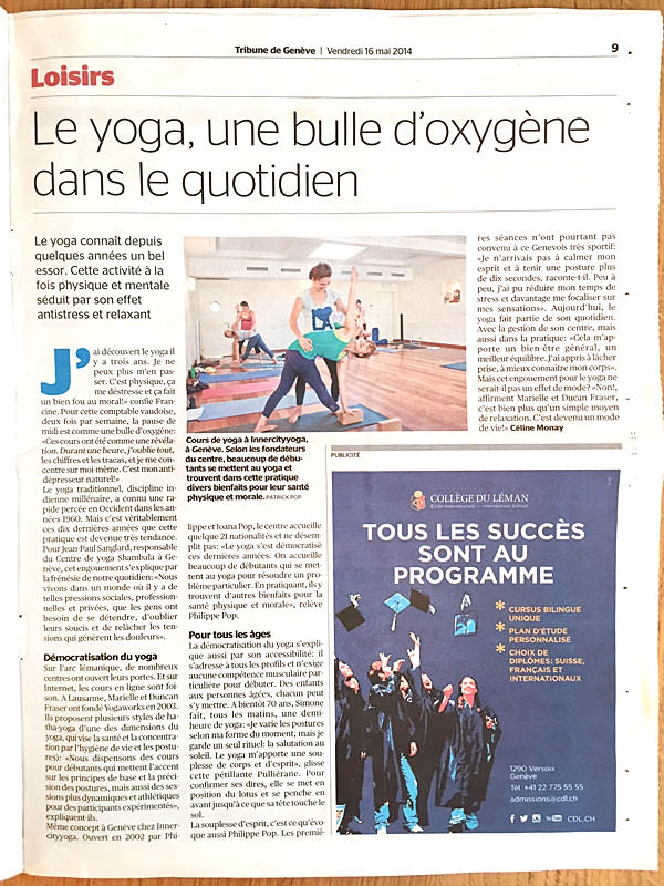 INNERCITYOGA founders interviewed in the Tribune de Genève