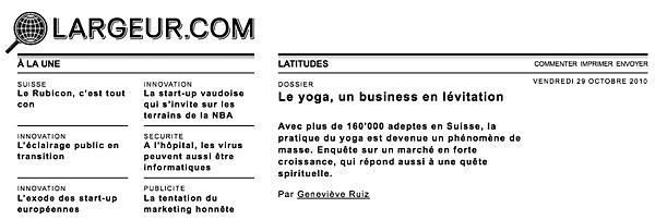 Interview avec le directeur d'INNERCITYOGA à propos le succès du yoga à  Geneve , Lausanne et en Suisse Romande.  Largeur.com  en 2010