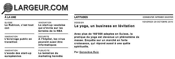 Interview with INNERCITYOGA Studio Director Patric Pop about the growing interest for yoga in Geneva, Lausanne and the Suisse Romande.  Largeur.com  in 2010