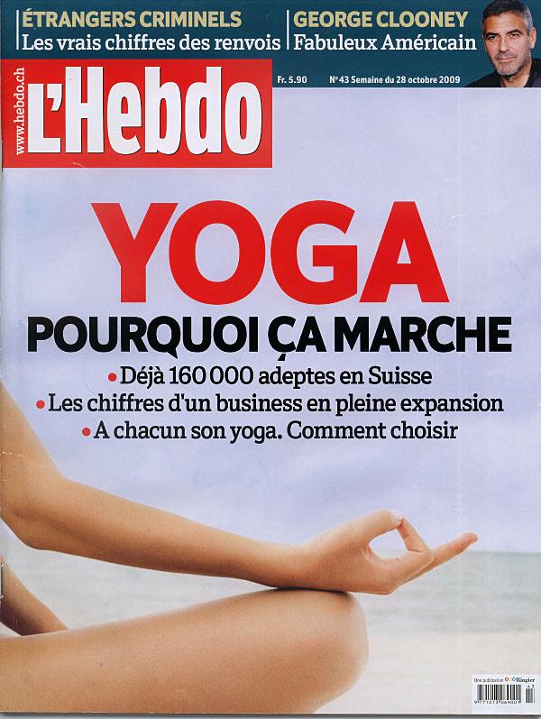 L'Hebdo publie un article à propos le succès du yoga en Suisse Romande et demande l'avis du  directeur  du centre INNERCITYOGA à Geneve qui a aidé à démocratiser la pratique ancéstrale