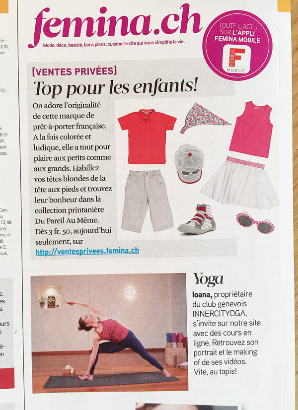 The most distributed feminine magazine in french-speaking Switzerland, Femina, showcasing INNERCITYOGA's Ioana Pop for the highly popular video series.