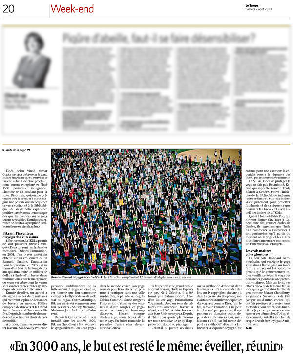 Interview with Ioana and Patric Pop of INNERCITYOGA in Geneva about the state of yoga in Switzerland in Le Temps, 2010