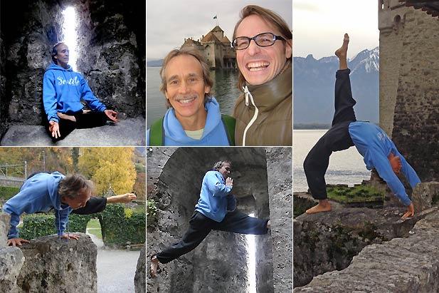 Doug Swenson et Patric de INNERCITYOGA lors d'un petit tour de Suisse de yoga tel que le Château de Chillon.