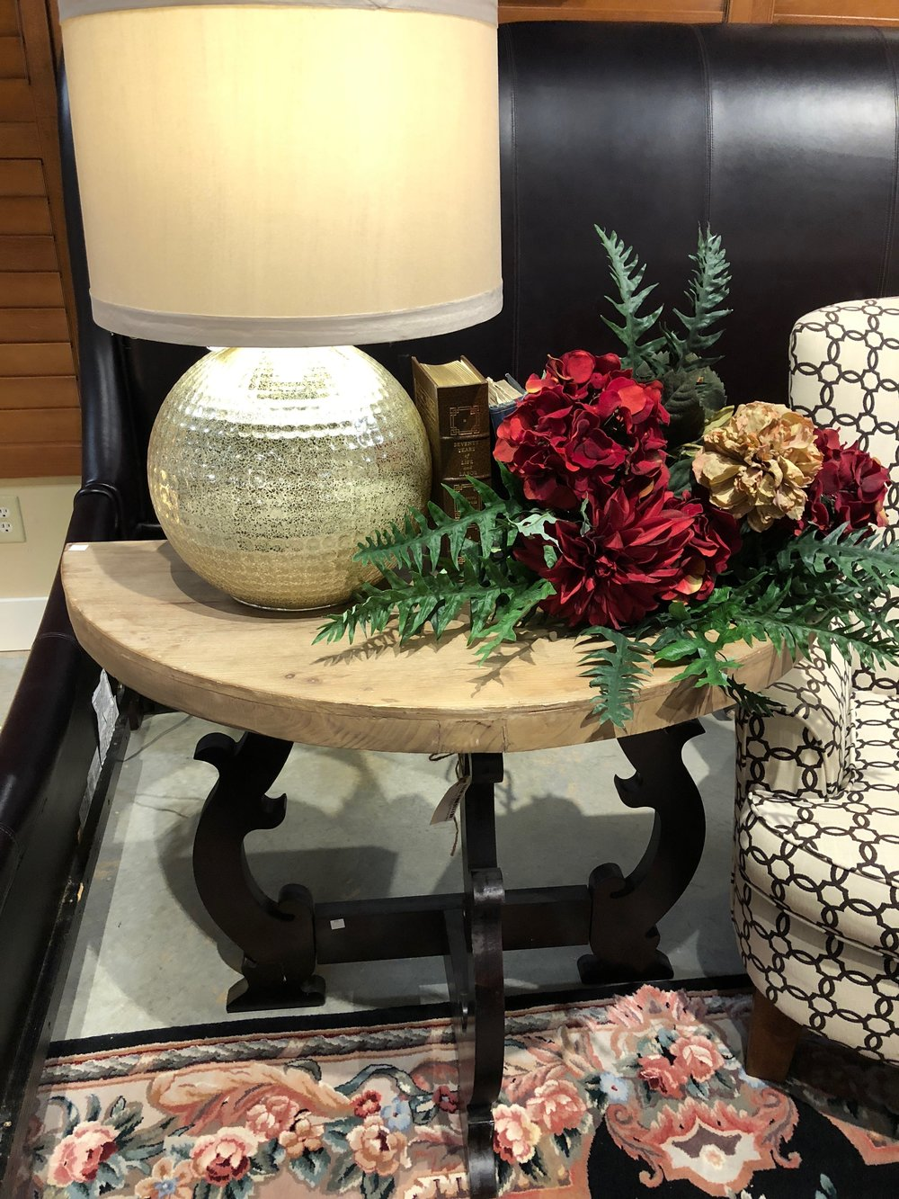 1/2 Round Entry Table with Black Legs $149.95  19679