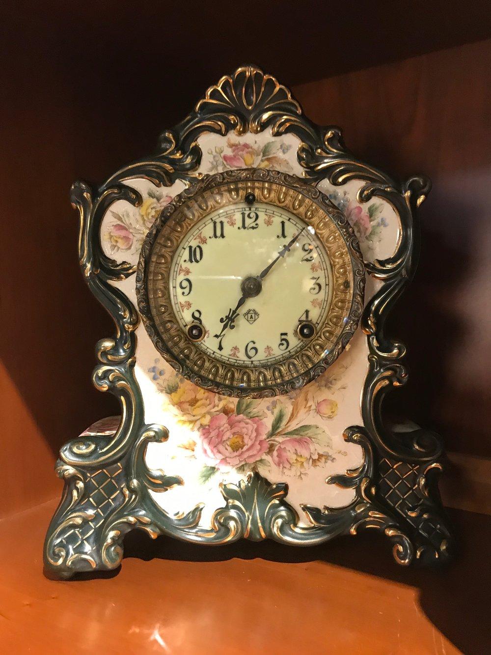 Ansonia Blue Porcelain Mantel Clock   C0967   -  19594