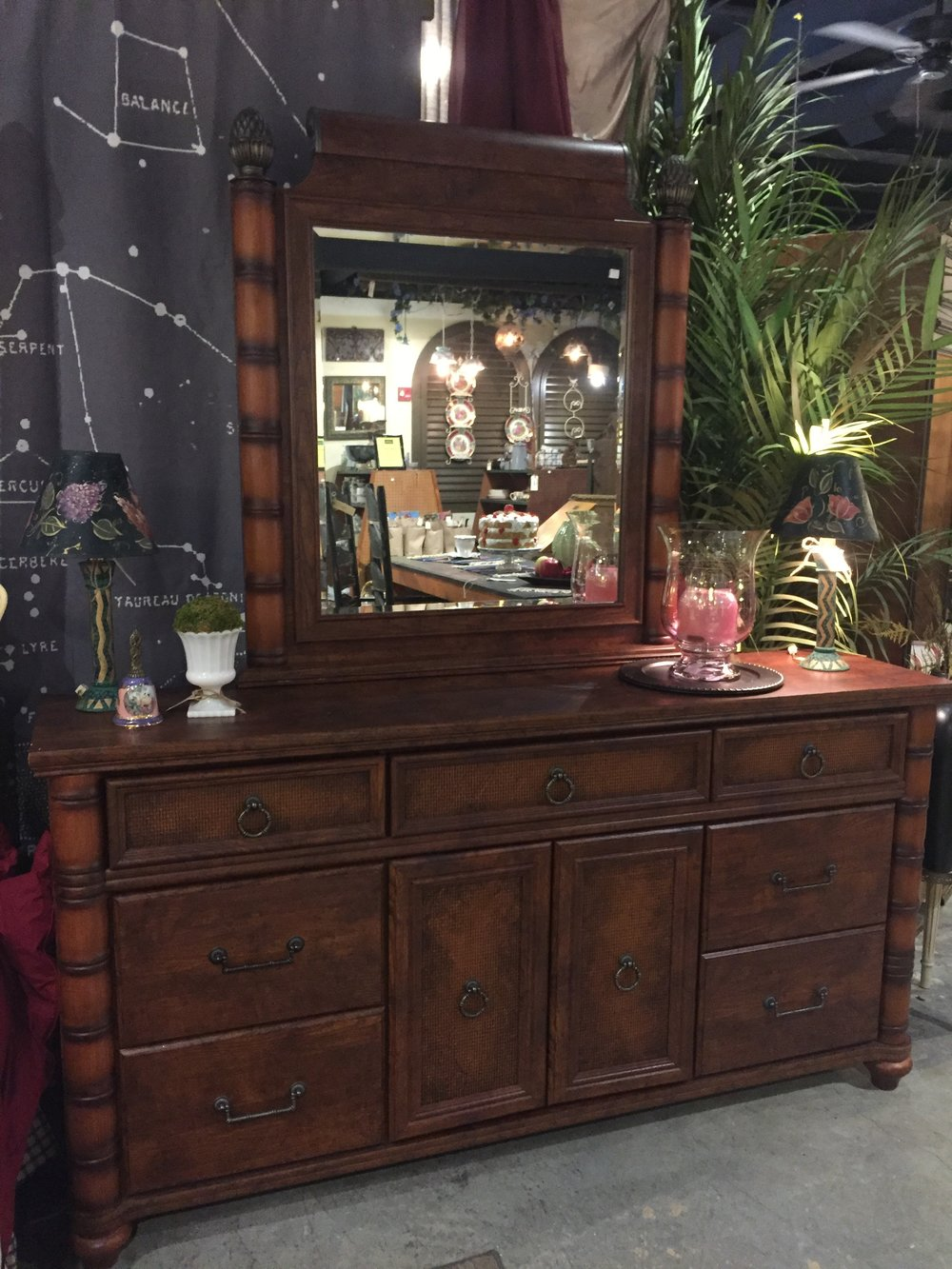 Bamboo Style Dresser with Mirror $329.95 - C1006 21843