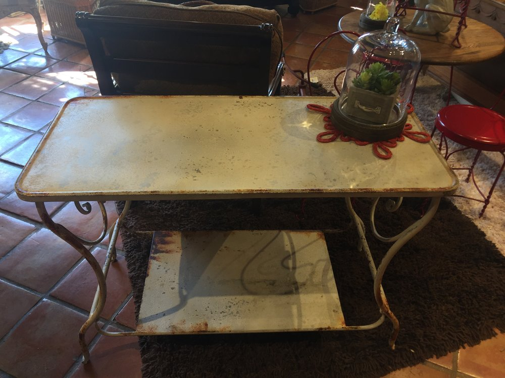 White & Rust Metal Table $229.95 - 001 22058