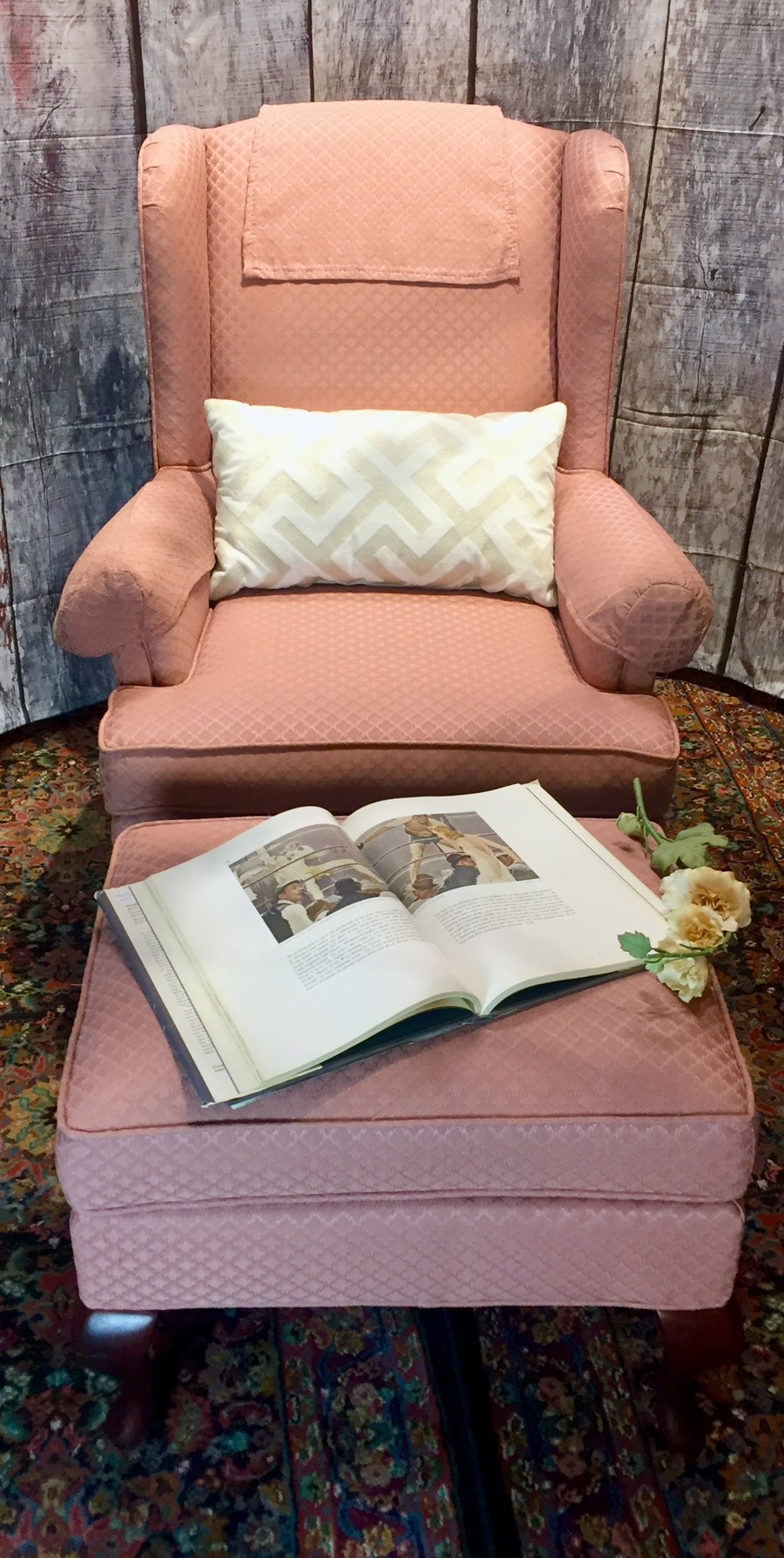 Pink Wingback Chair $129.95 and Ottoman $39.95 - C1021