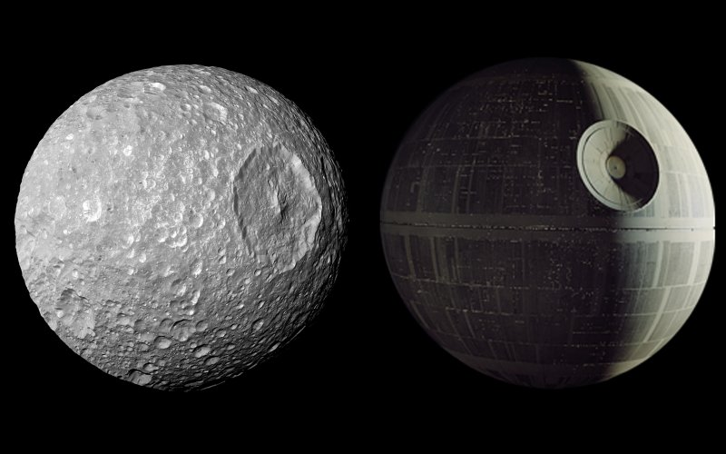"In this view captured by NASA's Cassini spacecraft on its closest-ever flyby of Saturn's moon Mimas, large Herschel Crater dominates Mimas, making the moon look like the Death Star in the movie ""Star Wars.""   Credit: NASA/JPL/SSI"