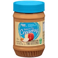 Great Value Reduced Fat Creamy Peanut Butter Spread, 18 ounces Rollback $2.18 (was $2.34)