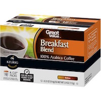 Great Value Breakfast Blend Medium Roast Coffee K-Cup Packs, 0.33 oz, 12 count $4.47 (was $4.98)
